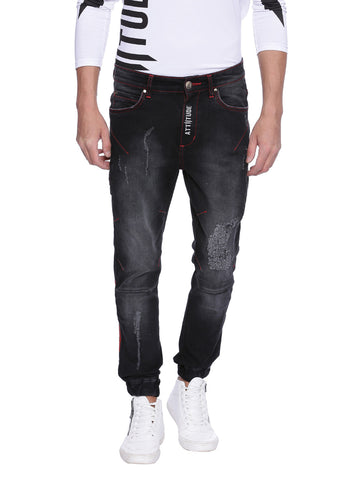 ATTIITUDE DENIM JOGGERS WITH TIE & SPRAY TREATMENT