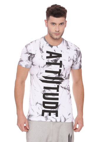 Attiitude Regular Hem White T shirt With Tie & Die Wash