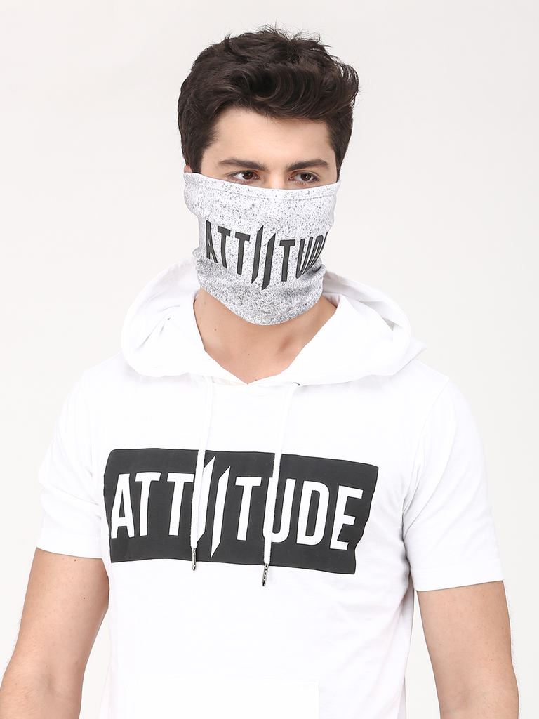 SLEEVELESS WHITE WITH BLACK HOODED T-SHIRT WITH SPLATTER EFFECT MASK
