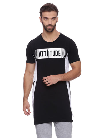 Attiitude Black T-shirt With Contrast Panel