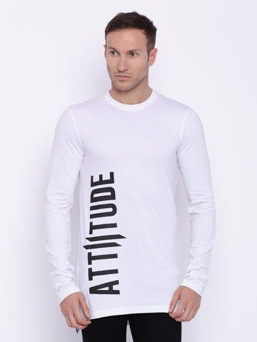 Attiitude  Basic White Full sleeve T-shirt