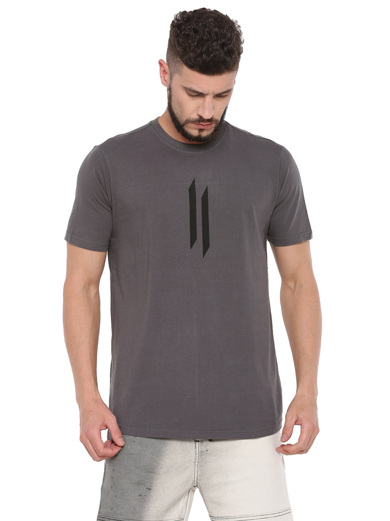 ATTIITUDE DARK GREY T-SHIRT WITH LOGO ON CUT-N-SEW PANEL