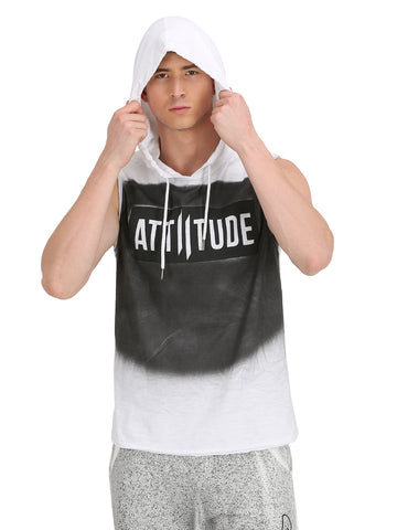 WHITE WASHED SLEEVELESS T-SHIRT WITH PRINT TAPED HOOD