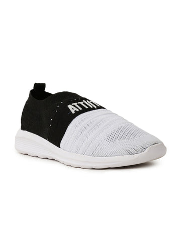 Men Black-White Color Block Slip-On Sneaker
