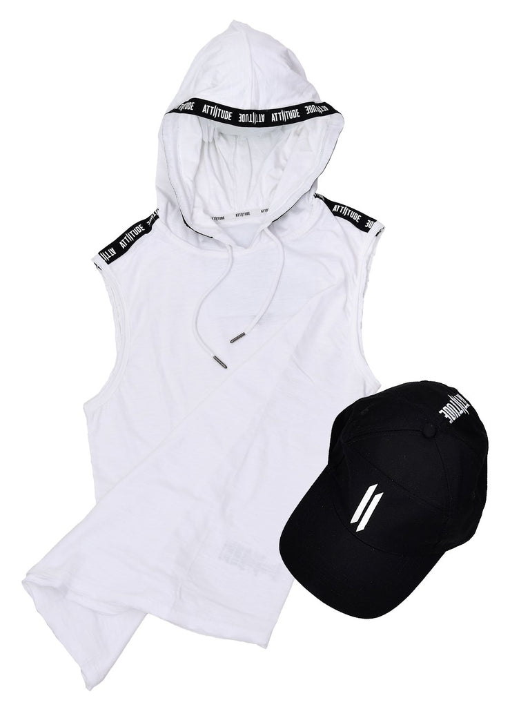 WHITE SLEEVELESS HOODED T-SHIRT WITH TAPED AND BLACK CAP