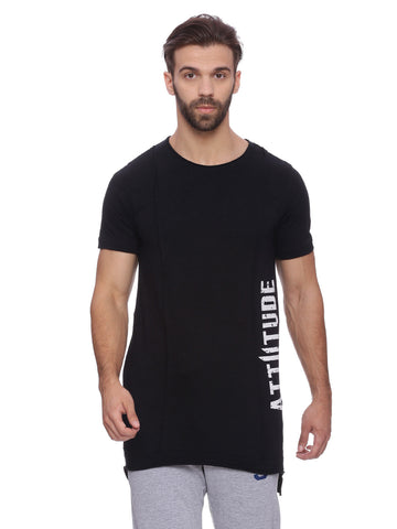 Attiitude Black Full sleeve t shirt with side Non PVC matte print