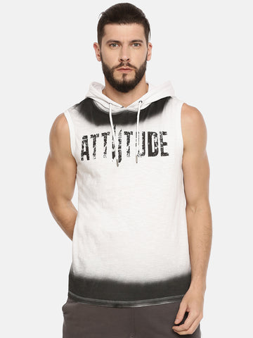BIG LOGO PRINTED GREY SHORT SLEEVE HOODED T-SHIRT