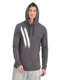 ELBOW PATCH & DIAGONAL LOGO GREY HOODED T-SHIRT