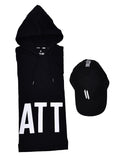 BLACK HOODED T-SHIRT WITH BLACK CAP