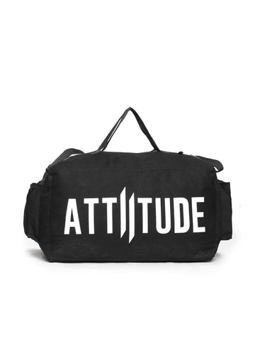 ATTIITUDE BLACK DENIM BACKPACK WITH BIG VERTICAL BRAND LOGO