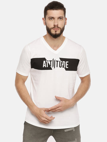 Attiitude Vertical Logo Printed T-Shirt  Light Blue