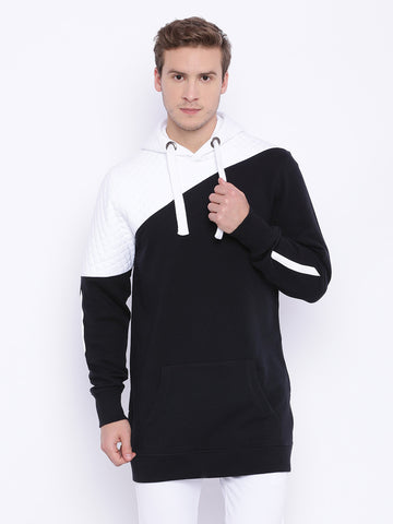 Attiitude Black Color Blocking Longline Hoodie