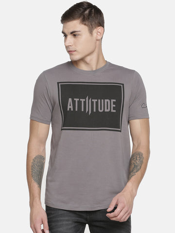 Grey Hooded T-Shirt With Contrast Printed Tape.