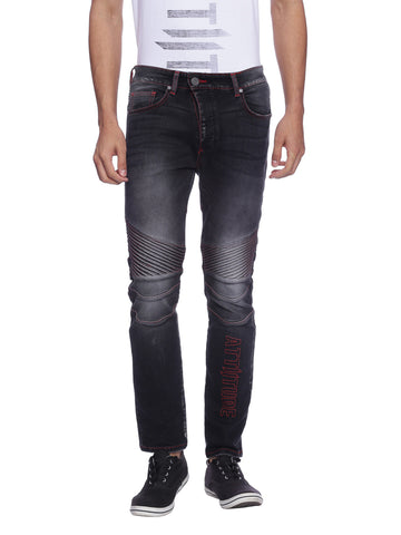ATTIITUDE GREY DENIM BIKER JEANS