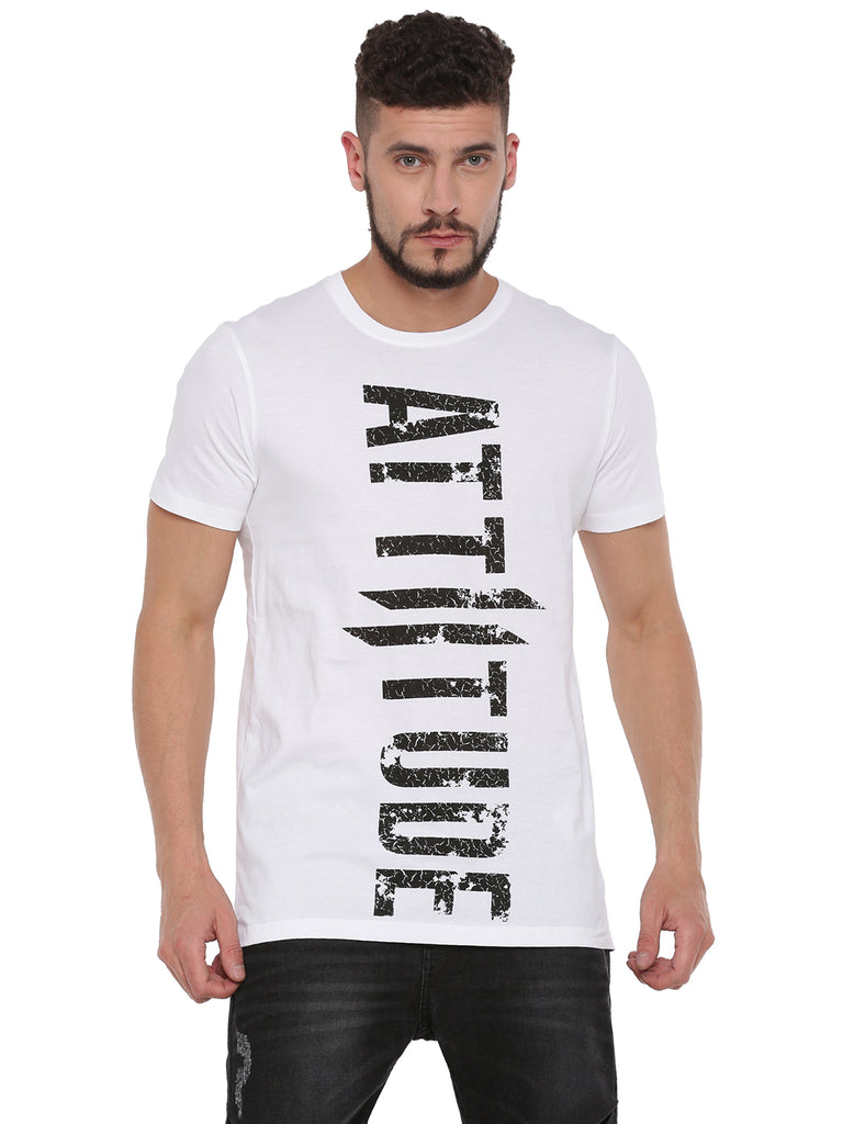 ATTIITUDE WHITE T-SHIRT WITH GRUNGE PIGMENT PRINT