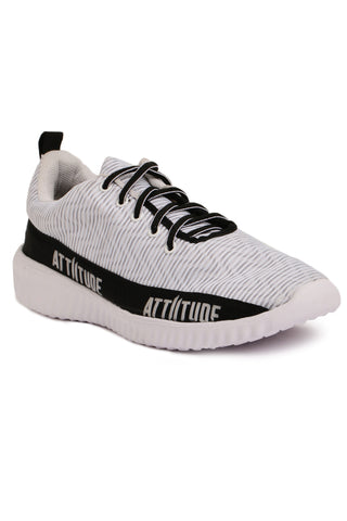 MEN WHITE LACE-UP SPORTS SHOE