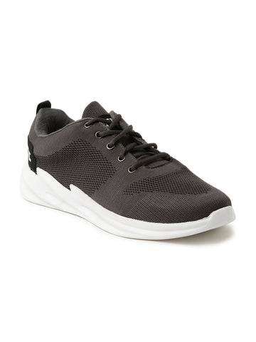 Men Solid Grey Casual Sneaker With Attiitude Logo