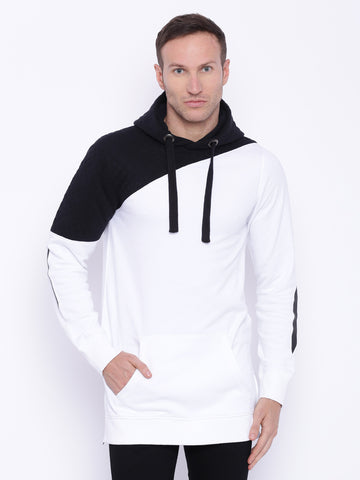 Attiitude Black & White Dual Tone Quilted long-line Hoodies