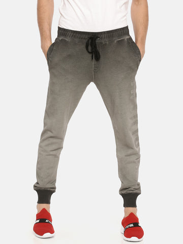 Grey CDP Washed Slim Fit Jogger With Logo Print