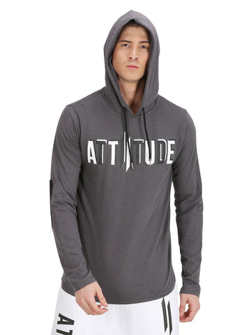GREY HOODED T-SHIRT WITH LOGO