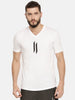 White V-Neck T-Shirt With Double I Logo On Chest