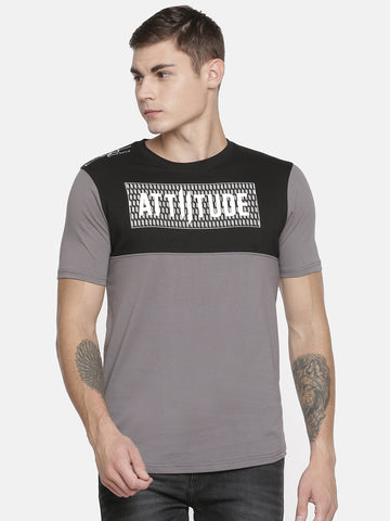 Attiitude Light Grey Asymmetrical T shirt