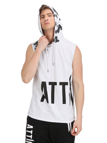WHITE SLEEVELESS HOODED VEST WITH LOGO ON CHEST