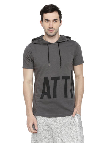ATTIITUDE MENS BLACK HOODIE T-SHIRT WITH DOUBLE II LOGO