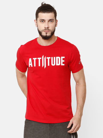 Attiitude Printed Double I Logo On Chest -Red