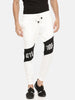 White With Black Color Block Jogger With Attiitude Logo