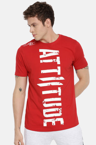 Attiitude Crew neck White T Shirt