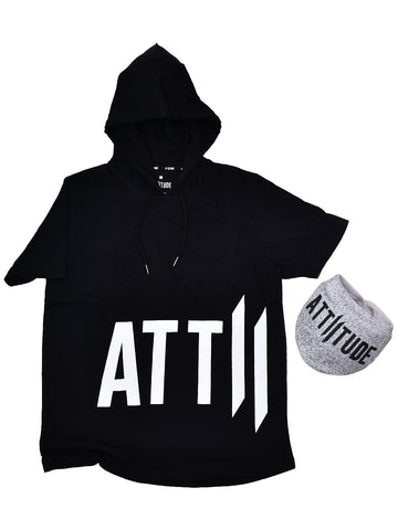 ATTIITUDE GREY TSHIRT WITH TEXT BOX & ASYMMETRICAL HEM + ATTIITUDE OFF WHITE DENIM JOGGERS