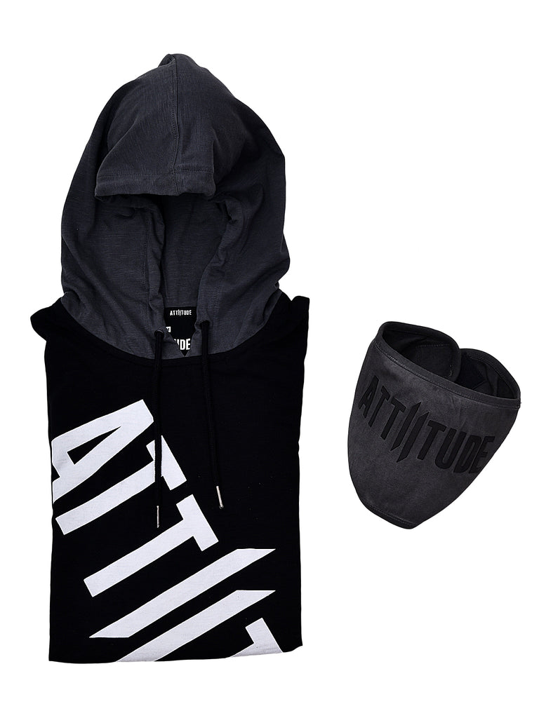 BLACK WITH GREY HOODED T-SHIRT WITH DR-GREY MASK