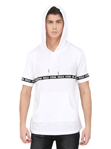 WHITE SLEEVELESS HOODIE WITH SPRAY PRINT
