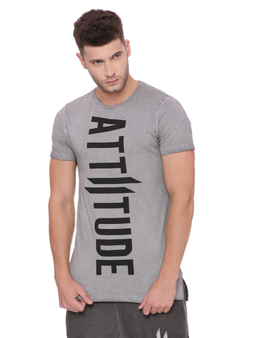 Attiitude Dark grey long hem tshirt with CPD treatment