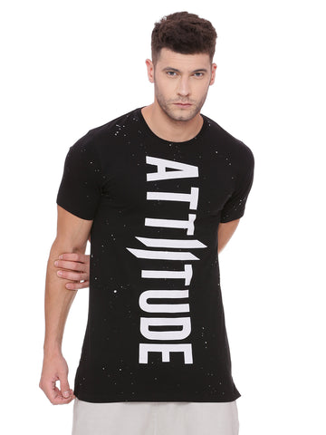 ATTIITUDE Black Raglan T shirt with Suede panels