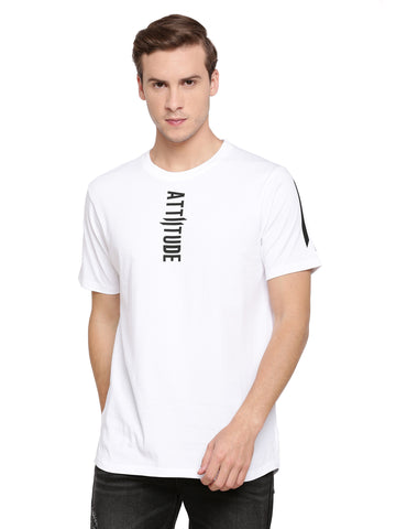 Attiitude White t-shirt with vertical pigment print