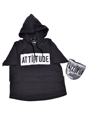 ATTIITUDE BLACK SLEEVELESS HOODIE + ATTIITUDE OFF WHITE DENIM JOGGERS