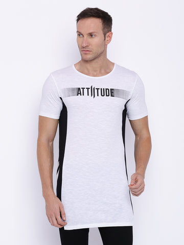 Attiitude White <nobr>T-shirt</nobr> With Contrast Panel