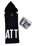 BLACK HOODED T-SHIRT WITH WHITE AND GREY SPECIAL WASH MASK