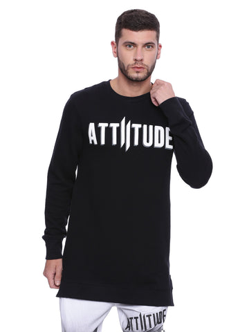 Attiitude Charcoal Grey Sweatshirts with Silicon Print