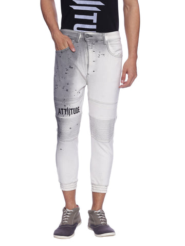 ATTIITUDE OFF-WHITE DENIM JOGGERS WITH STITCHED DETAIL