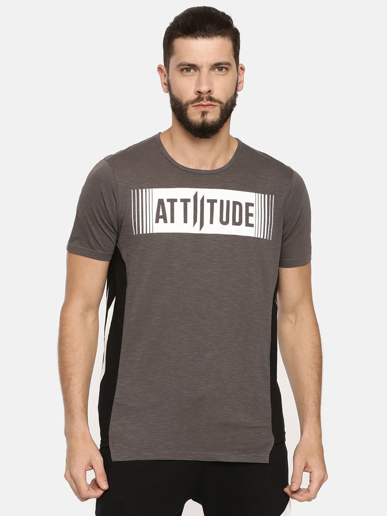 Grey T-Shirt With White Stencil Printed