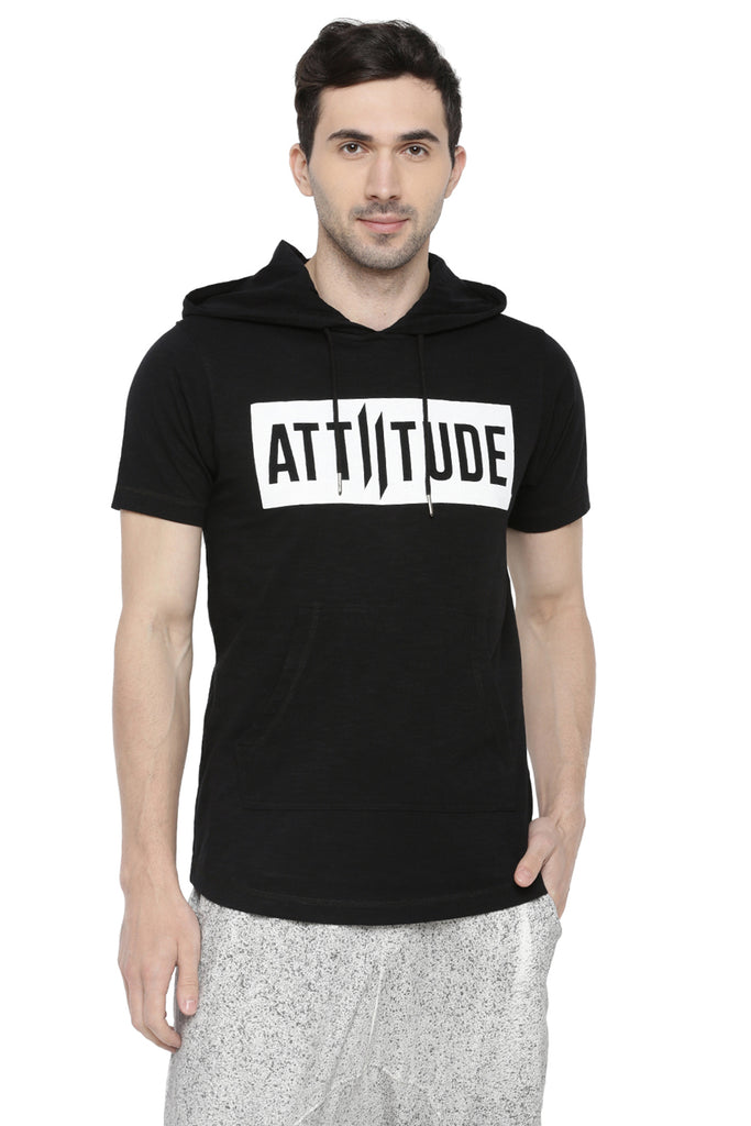 BLACK MEN HOODED T-SHIRT AND BLACK CAP