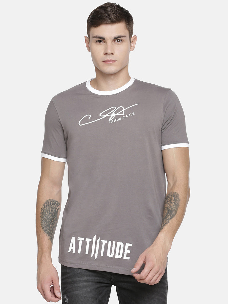 CHRIS GAYLE SIGNATURE COLLECTION GREY T-SHIRT WITH HD PRINT AND WHITE MASK