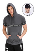 GREY WITH TAPED HOODED T-SHIRT AND BLACK CAP