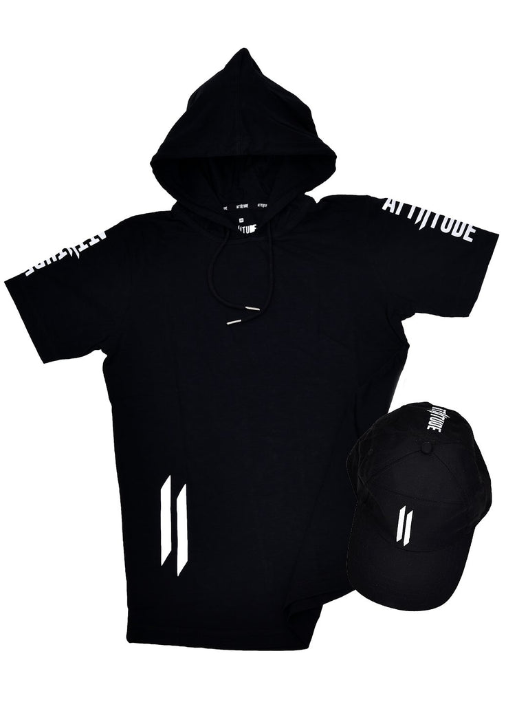 BLACK HOODED T-SHIRT AND BLACK CAP