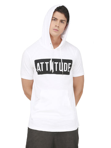 Flock PrinT Grey Hooded T-Shirt