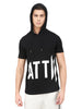 BIG LOGO PRINTED BLACK SHORT SLEEVE HOODED T-SHIRT
