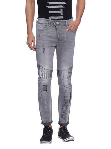 ATTIITUDE DENIM JOGGERS WITH STITCHED DETAIL